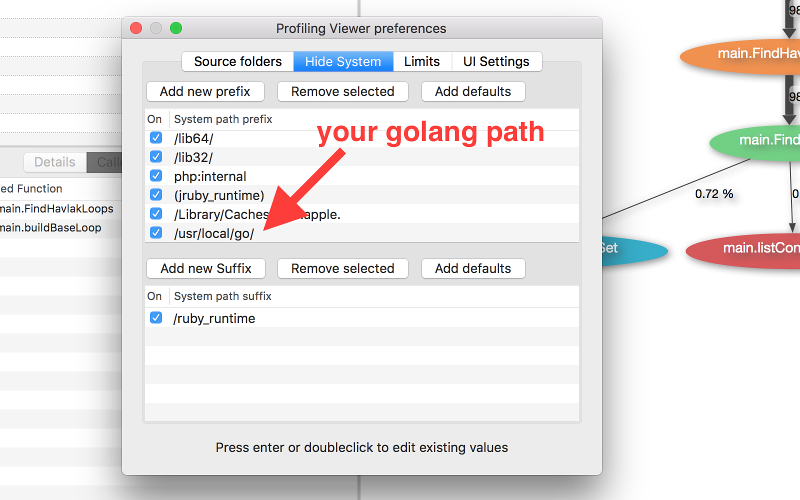 Profiling Viewer settings for Golang